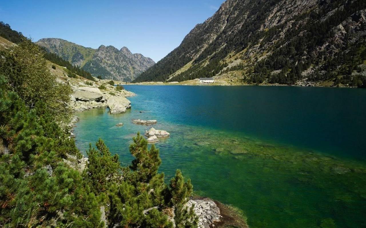 Lake in the mountains, pilgrimage Lourdes, hotel Panorama.
