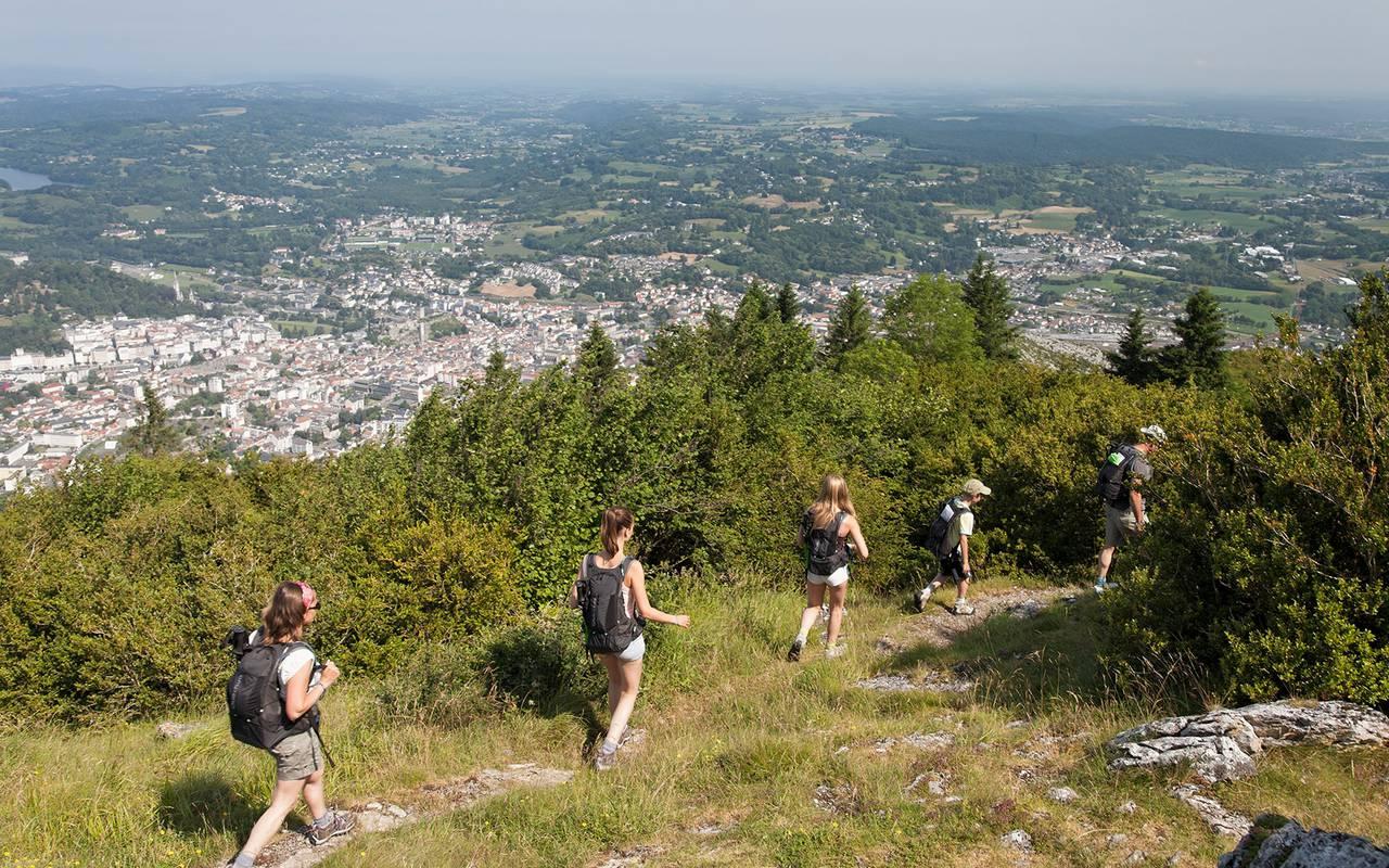 People hiking, pilgrimage Lourdes, hotel Panorama.